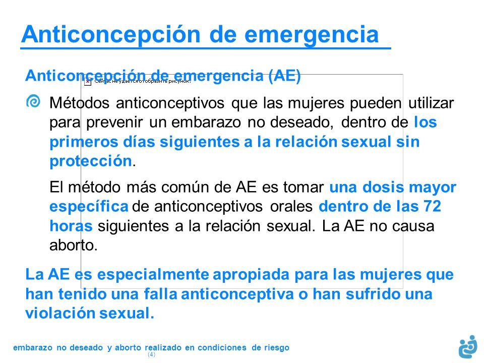 embarazo no deseado y aborto realizado en condiciones de riesgo (4) Anticoncepción de emergencia Anticoncepción de emergencia (AE) Métodos anticoncept