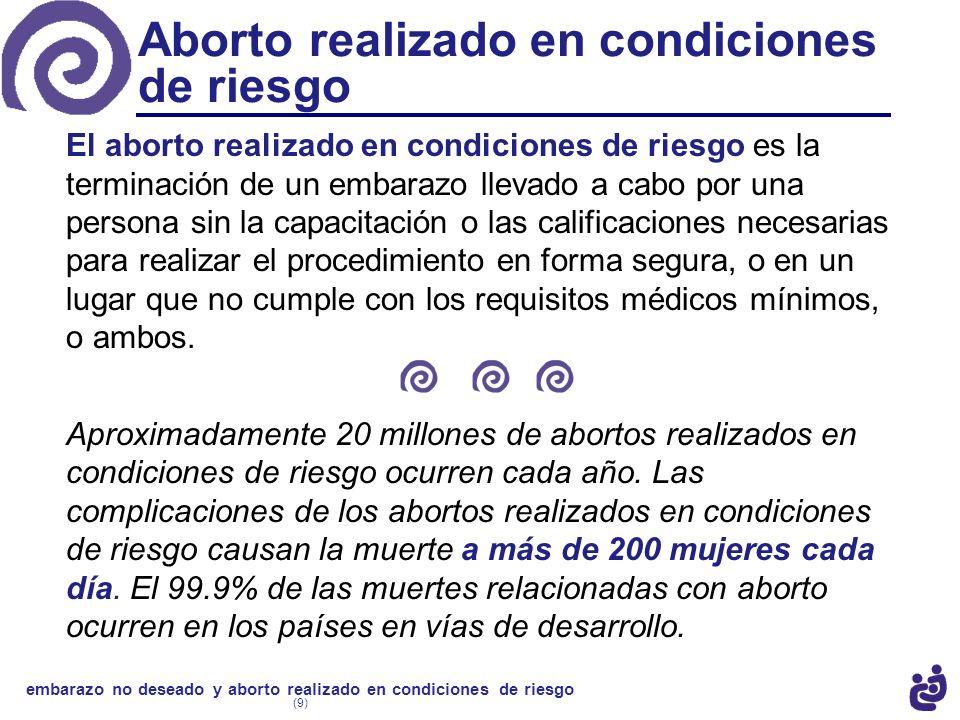 El aborto realizado en condiciones de riesgo es la terminación de un embarazo llevado a cabo por una persona sin la capacitación o las calificaciones