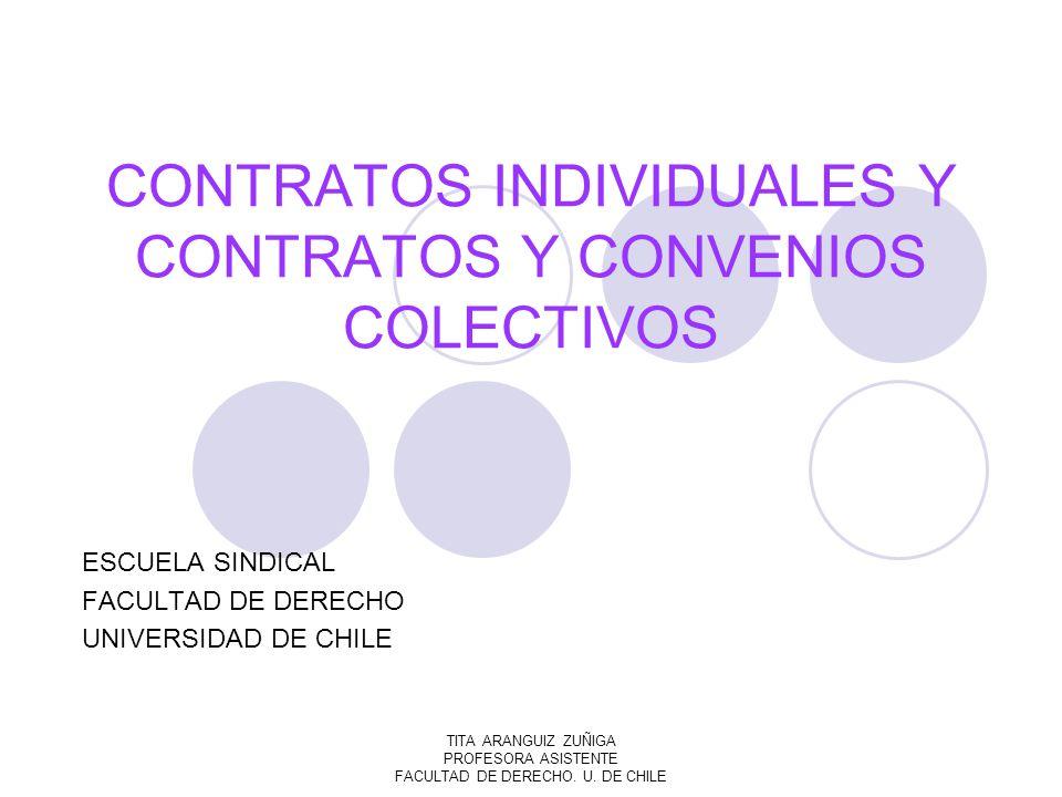 TITA ARANGUIZ ZUÑIGA PROFESORA ASISTENTE FACULTAD DE DERECHO. U. DE CHILE CONTRATOS INDIVIDUALES Y CONTRATOS Y CONVENIOS COLECTIVOS ESCUELA SINDICAL F