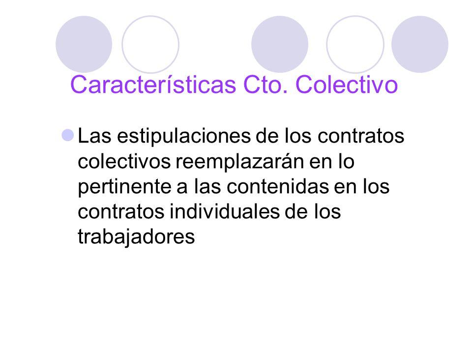 Características Cto. Colectivo Las estipulaciones de los contratos colectivos reemplazarán en lo pertinente a las contenidas en los contratos individu