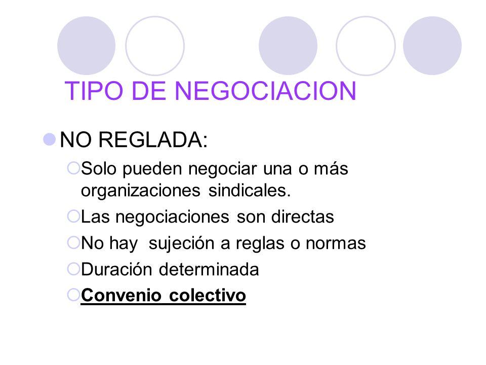 TIPO DE NEGOCIACION NO REGLADA: Solo pueden negociar una o más organizaciones sindicales. Las negociaciones son directas No hay sujeción a reglas o no