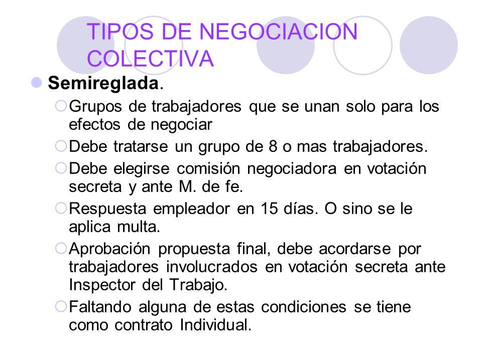 TIPOS DE NEGOCIACION COLECTIVA Semireglada. Grupos de trabajadores que se unan solo para los efectos de negociar Debe tratarse un grupo de 8 o mas tra