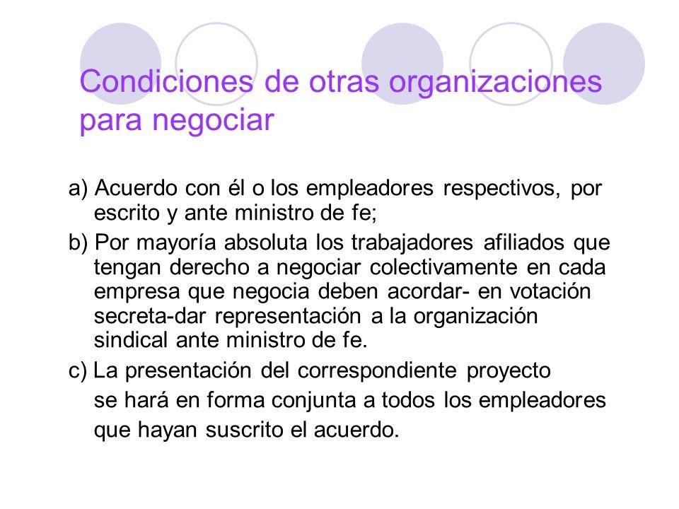 Condiciones de otras organizaciones para negociar a) Acuerdo con él o los empleadores respectivos, por escrito y ante ministro de fe; b) Por mayoría a