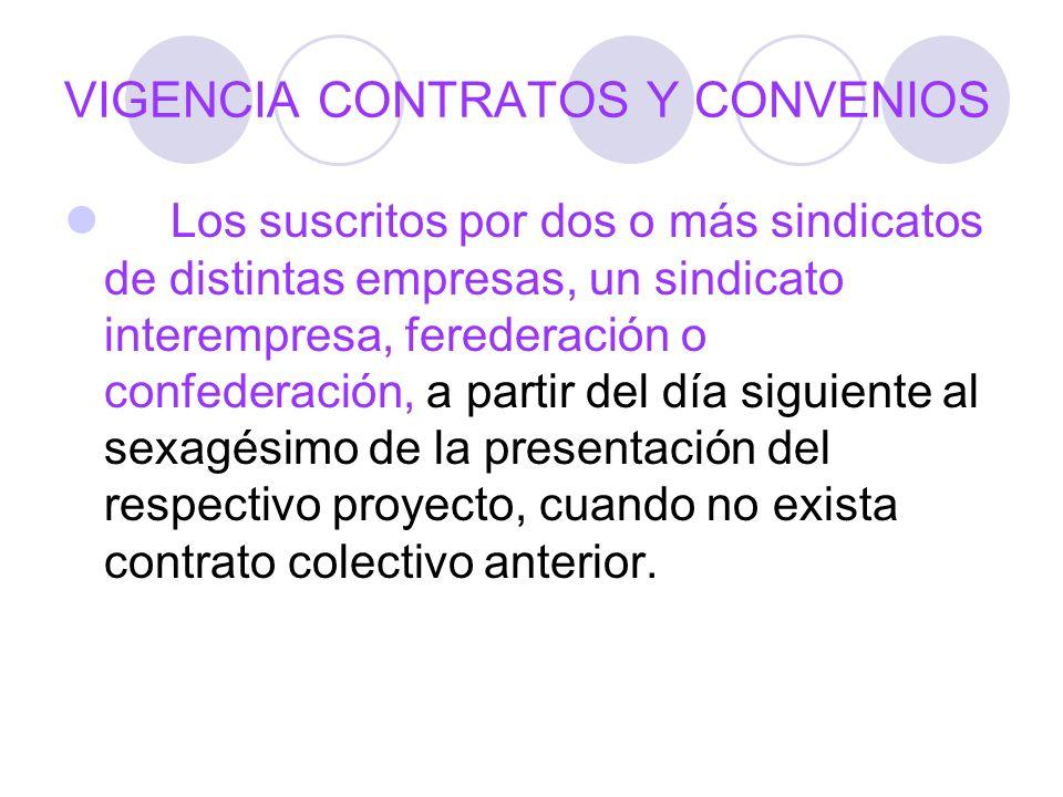 VIGENCIA CONTRATOS Y CONVENIOS Los suscritos por dos o más sindicatos de distintas empresas, un sindicato interempresa, ferederación o confederación,