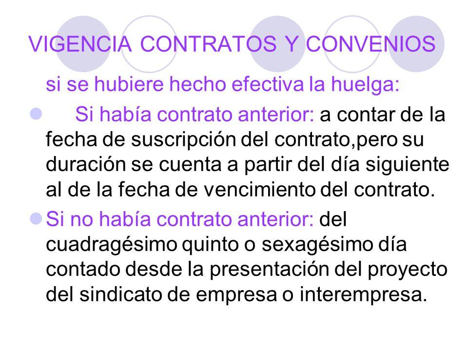 VIGENCIA CONTRATOS Y CONVENIOS si se hubiere hecho efectiva la huelga: Si había contrato anterior: a contar de la fecha de suscripción del contrato,pe
