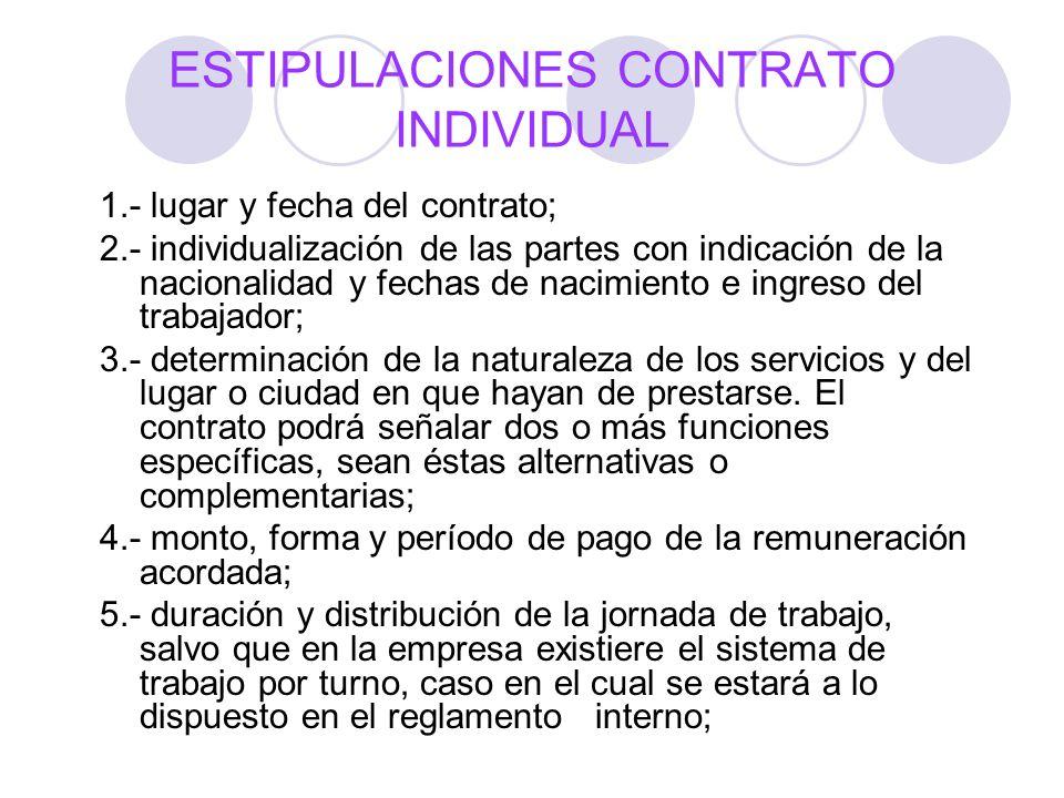 ESTIPULACIONES CONTRATO INDIVIDUAL 1.- lugar y fecha del contrato; 2.- individualización de las partes con indicación de la nacionalidad y fechas de n