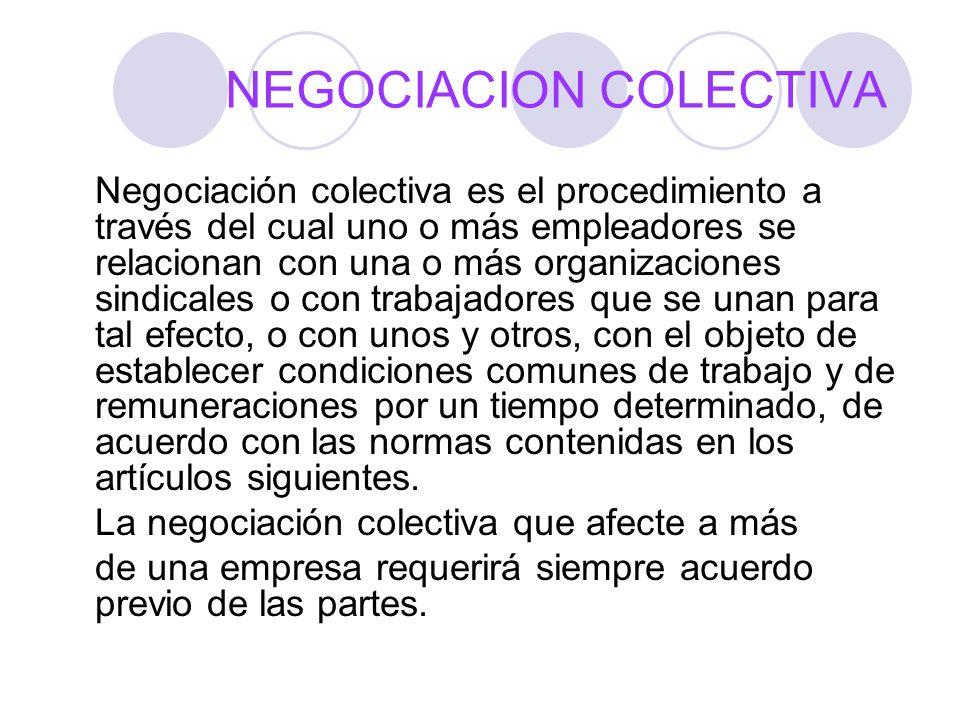 NEGOCIACION COLECTIVA Negociación colectiva es el procedimiento a través del cual uno o más empleadores se relacionan con una o más organizaciones sin