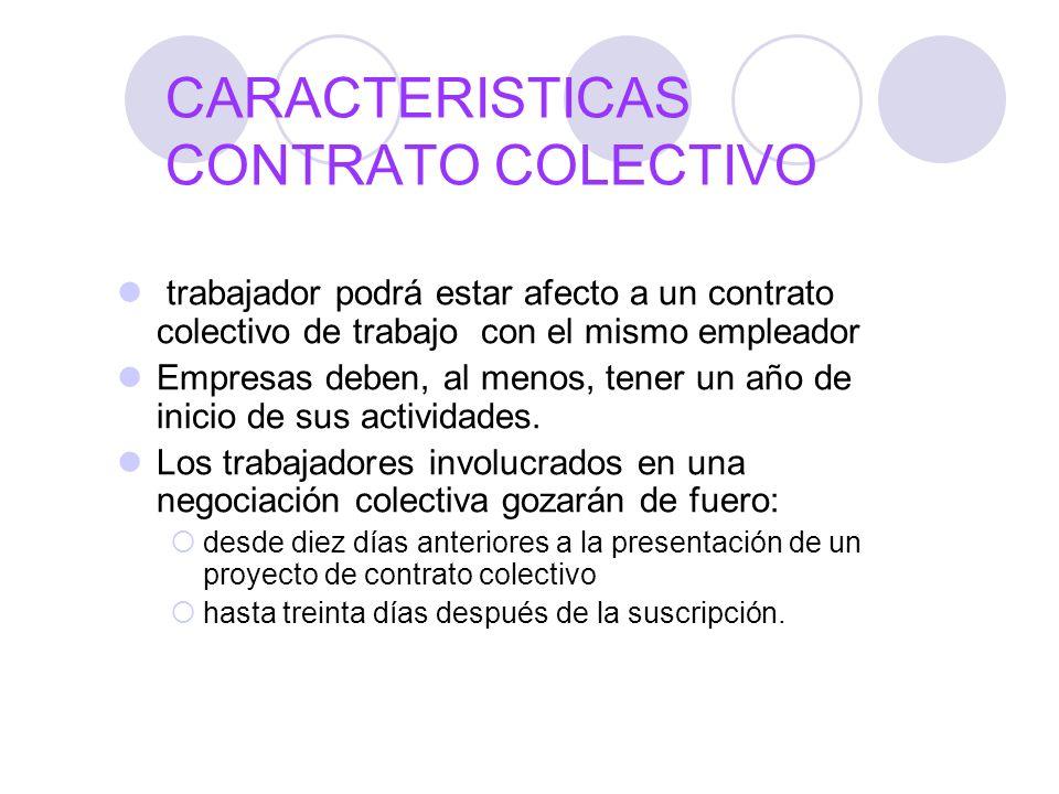 CARACTERISTICAS CONTRATO COLECTIVO trabajador podrá estar afecto a un contrato colectivo de trabajo con el mismo empleador Empresas deben, al menos, t