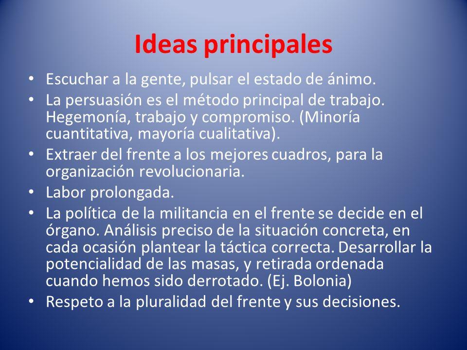 Ideas principales Escuchar a la gente, pulsar el estado de ánimo. La persuasión es el método principal de trabajo. Hegemonía, trabajo y compromiso. (M