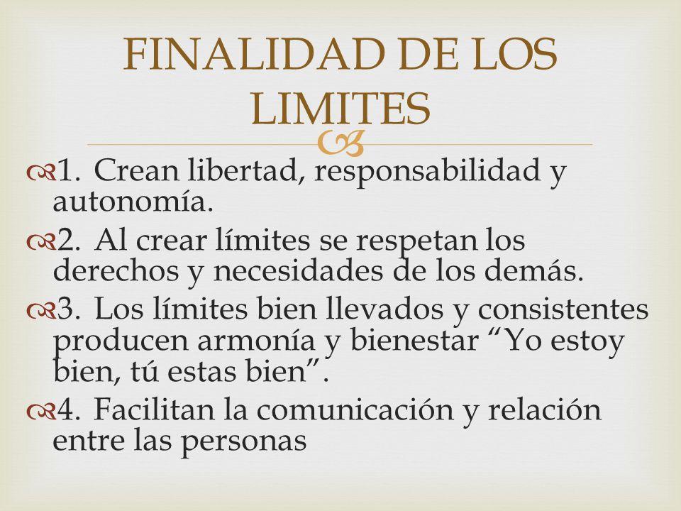 1.Crean libertad, responsabilidad y autonomía. 2.Al crear límites se respetan los derechos y necesidades de los demás. 3.Los límites bien llevados y c