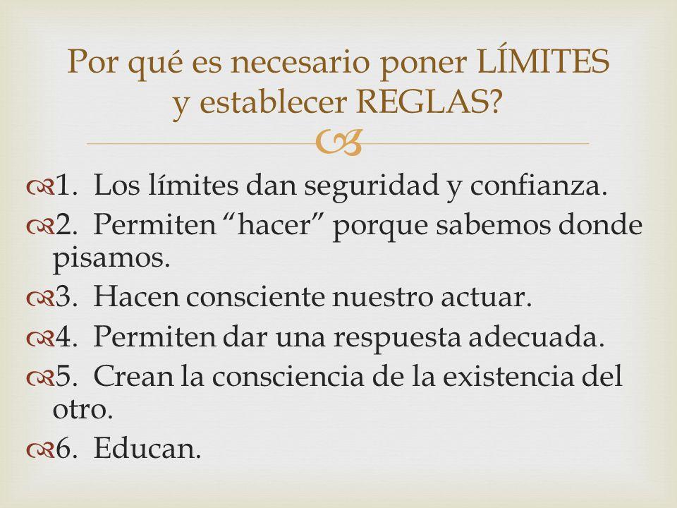 1.Los límites dan seguridad y confianza. 2.Permiten hacer porque sabemos donde pisamos. 3.Hacen consciente nuestro actuar. 4.Permiten dar una respuest