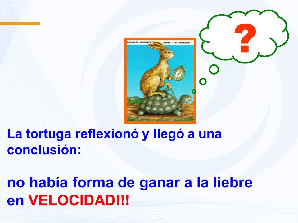 La tortuga reflexionó y llegó a una conclusión: no había forma de ganar a la liebre en VELOCIDAD!!! ?