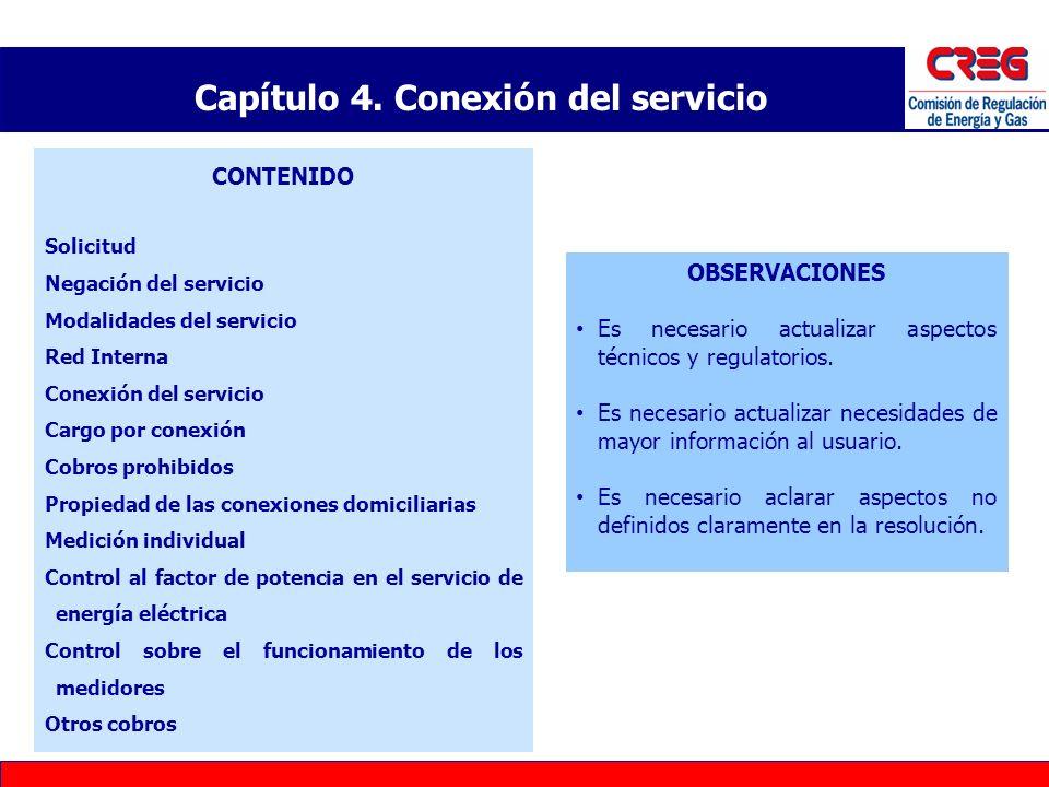 Capítulo 4. Conexión del servicio CONTENIDO Solicitud Negación del servicio Modalidades del servicio Red Interna Conexión del servicio Cargo por conex