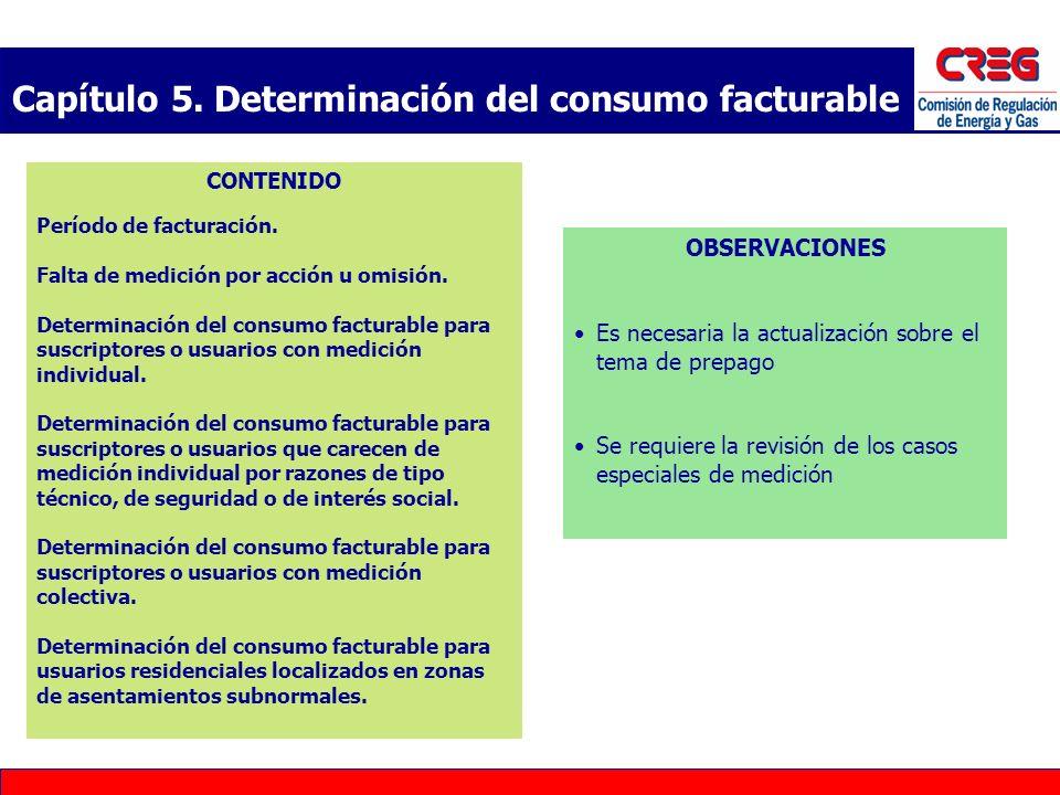 Capítulo 5. Determinación del consumo facturable CONTENIDO Período de facturación. Falta de medición por acción u omisión. Determinación del consumo f