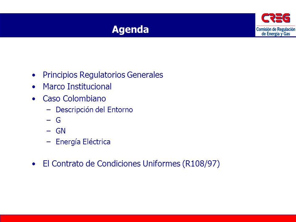Principios Regulatorios Generales Marco Institucional Caso Colombiano –Descripción del Entorno –G –GN –Energía Eléctrica El Contrato de Condiciones Un