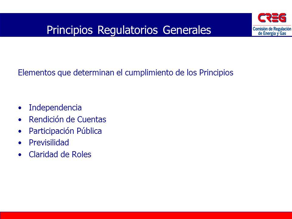 Elementos que determinan el cumplimiento de los Principios Independencia Rendición de Cuentas Participación Pública Previsilidad Claridad de Roles Pri