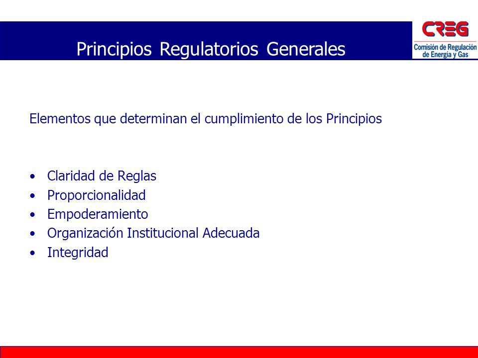 Elementos que determinan el cumplimiento de los Principios Claridad de Reglas Proporcionalidad Empoderamiento Organización Institucional Adecuada Inte