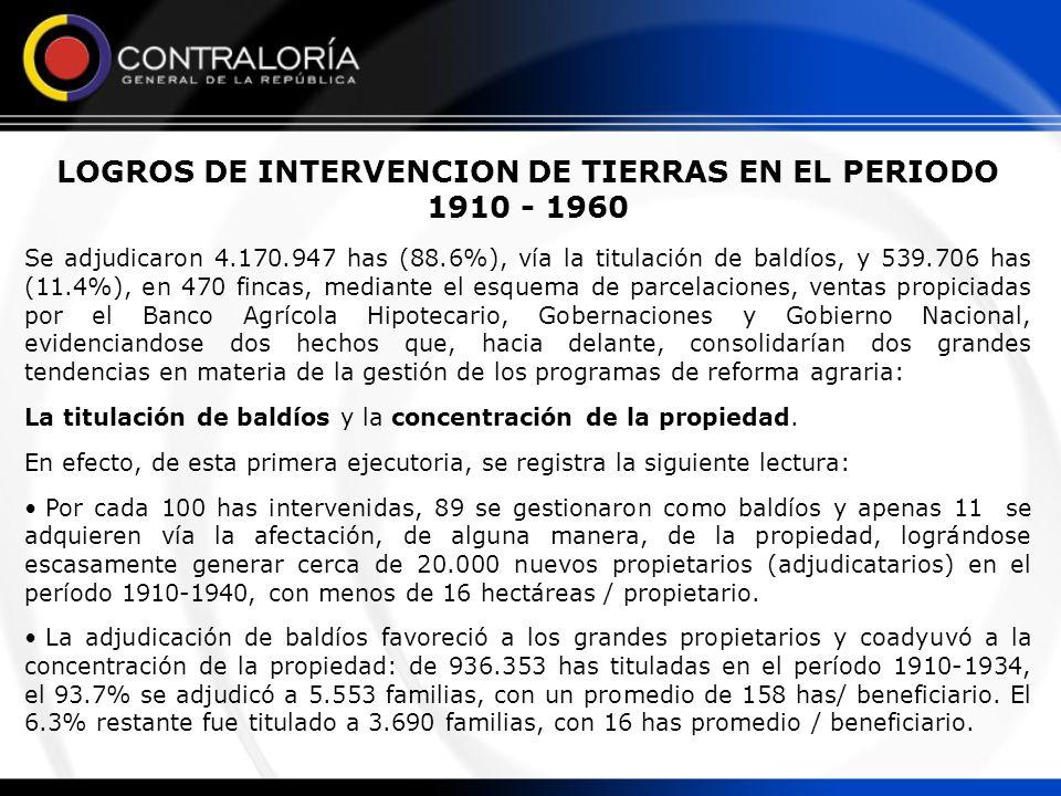 LOGROS DE INTERVENCION DE TIERRAS EN EL PERIODO 1910 - 1960 Se adjudicaron 4.170.947 has (88.6%), vía la titulación de baldíos, y 539.706 has (11.4%),