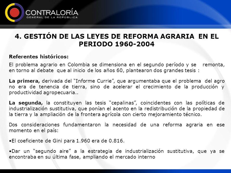 4. GESTIÓN DE LAS LEYES DE REFORMA AGRARIA EN EL PERIODO 1960-2004 Referentes históricos: El problema agrario en Colombia se dimensiona en el segundo