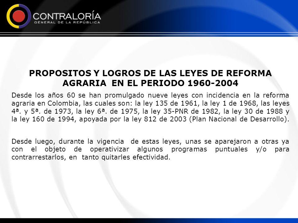 PROPOSITOS Y LOGROS DE LAS LEYES DE REFORMA AGRARIA EN EL PERIODO 1960-2004 Desde los años 60 se han promulgado nueve leyes con incidencia en la refor