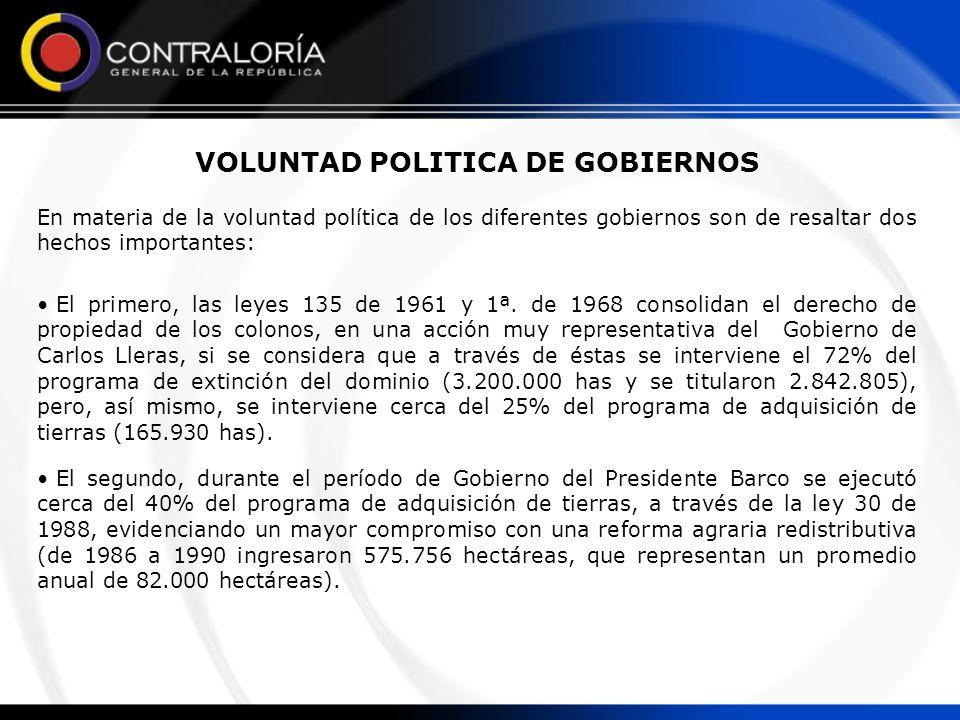 VOLUNTAD POLITICA DE GOBIERNOS En materia de la voluntad política de los diferentes gobiernos son de resaltar dos hechos importantes: El primero, las