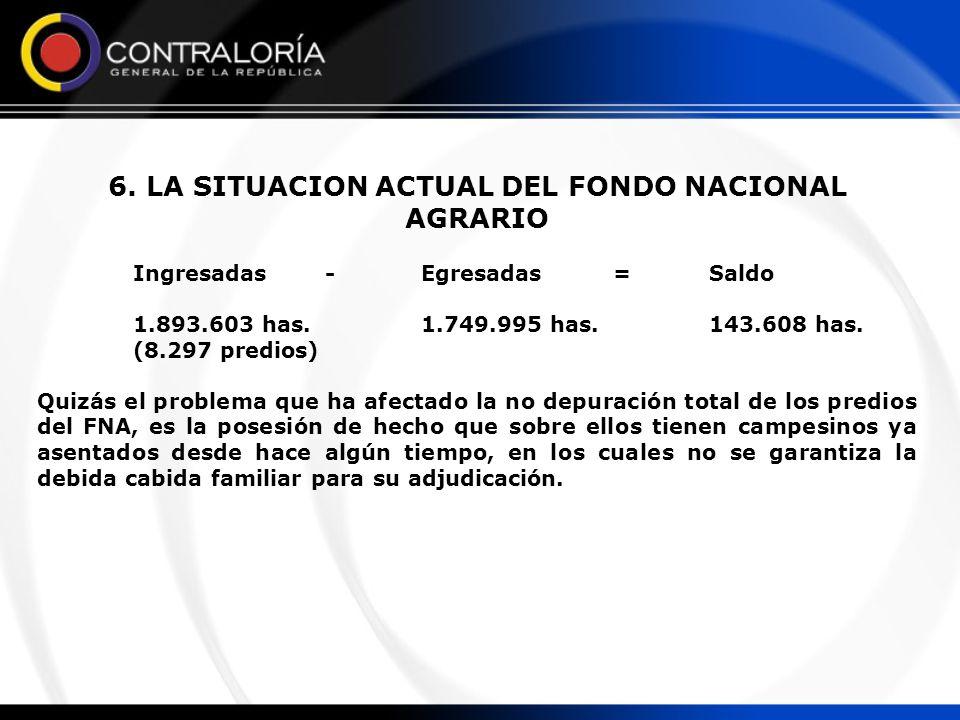 6. LA SITUACION ACTUAL DEL FONDO NACIONAL AGRARIO Ingresadas-Egresadas=Saldo 1.893.603 has.1.749.995 has.143.608 has. (8.297 predios) Quizás el proble