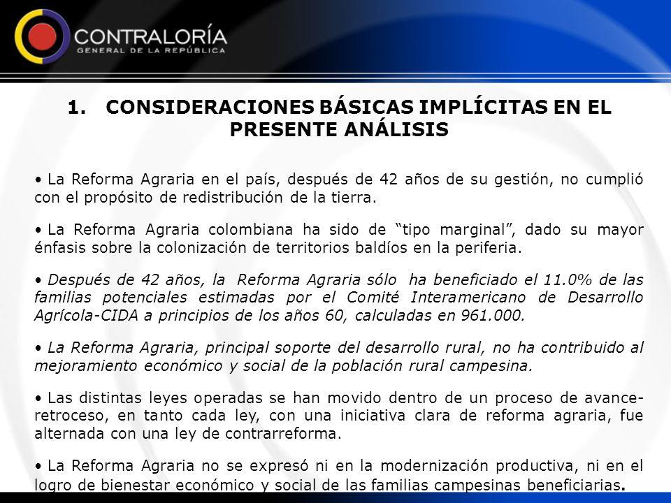 1. CONSIDERACIONES BÁSICAS IMPLÍCITAS EN EL PRESENTE ANÁLISIS La Reforma Agraria en el país, después de 42 años de su gestión, no cumplió con el propó