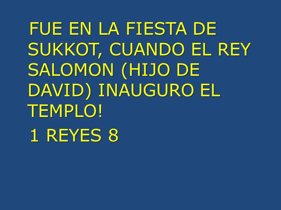 FUE EN LA FIESTA DE SUKKOT, CUANDO EL REY SALOMON (HIJO DE DAVID) INAUGURO EL TEMPLO.