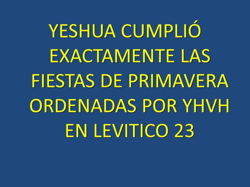 YESHUA CUMPLIÓ EXACTAMENTE LAS FIESTAS DE PRIMAVERA ORDENADAS POR YHVH EN LEVITICO 23