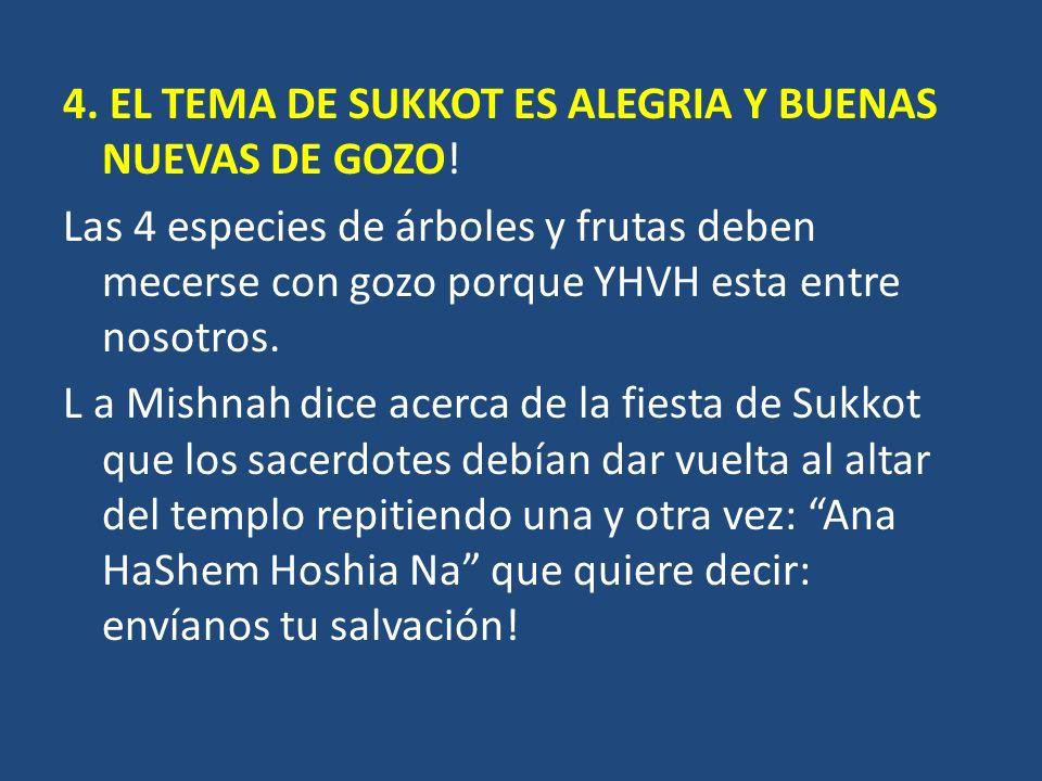 4. EL TEMA DE SUKKOT ES ALEGRIA Y BUENAS NUEVAS DE GOZO.