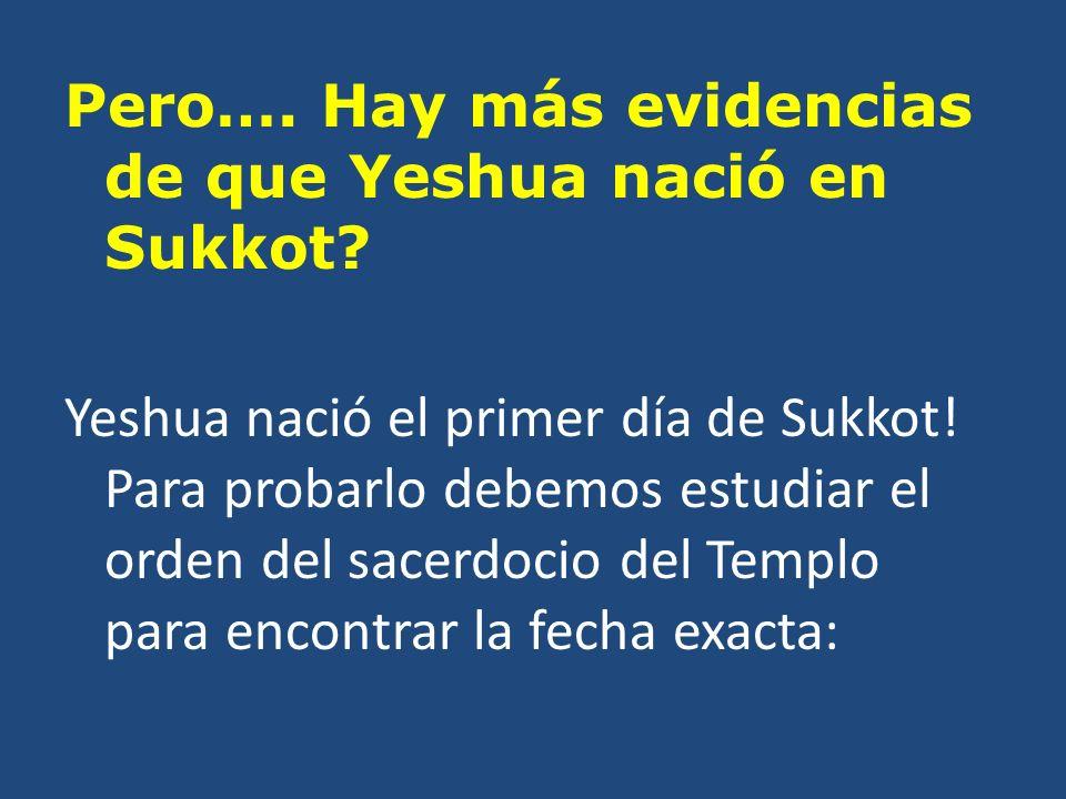 Pero…. Hay más evidencias de que Yeshua nació en Sukkot.