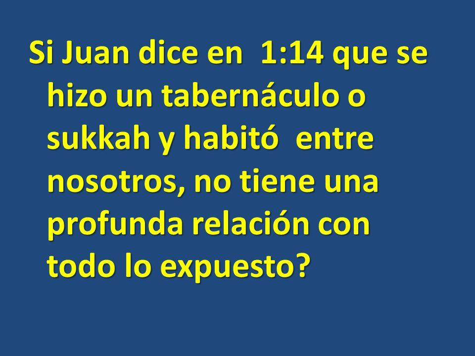Si Juan dice en 1:14 que se hizo un tabernáculo o sukkah y habitó entre nosotros, no tiene una profunda relación con todo lo expuesto
