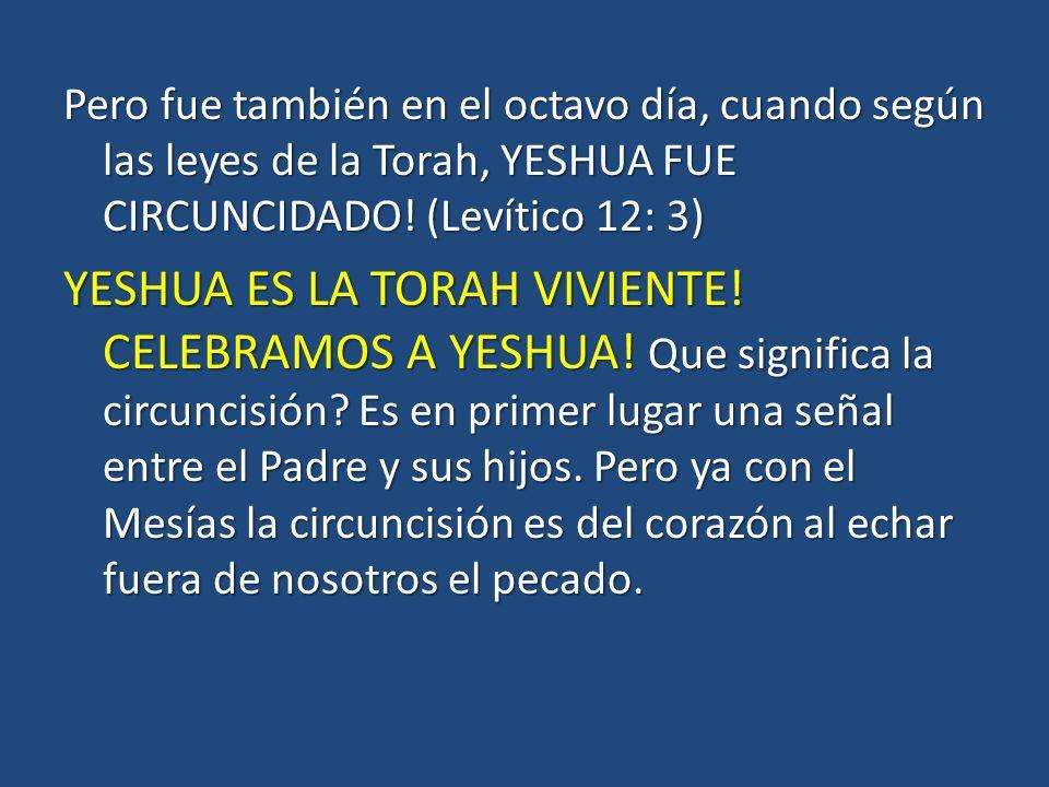 Pero fue también en el octavo día, cuando según las leyes de la Torah, YESHUA FUE CIRCUNCIDADO.