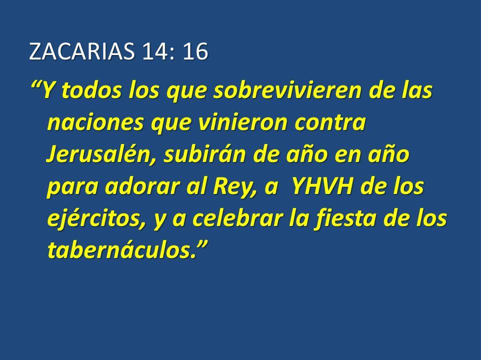 ZACARIAS 14: 16 Y todos los que sobrevivieren de las naciones que vinieron contra Jerusalén, subirán de año en año para adorar al Rey, a YHVH de los ejércitos, y a celebrar la fiesta de los tabernáculos.Y todos los que sobrevivieren de las naciones que vinieron contra Jerusalén, subirán de año en año para adorar al Rey, a YHVH de los ejércitos, y a celebrar la fiesta de los tabernáculos.
