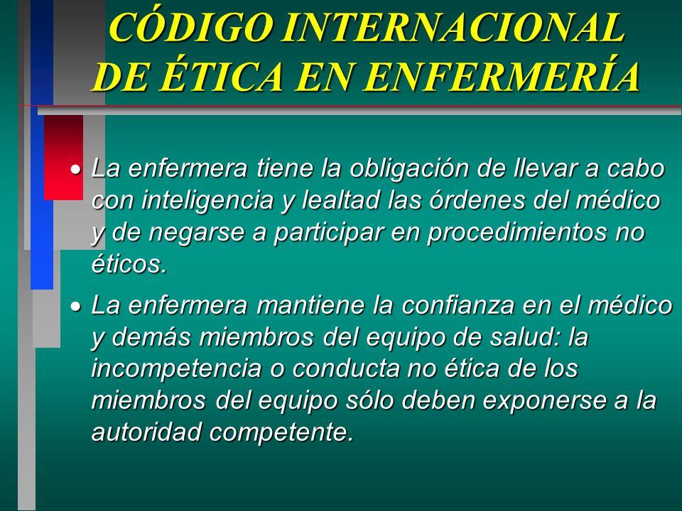 CÓDIGO INTERNACIONAL DE ÉTICA EN ENFERMERÍA La enfermera tiene la obligación de llevar a cabo con inteligencia y lealtad las órdenes del médico y de negarse a participar en procedimientos no éticos.