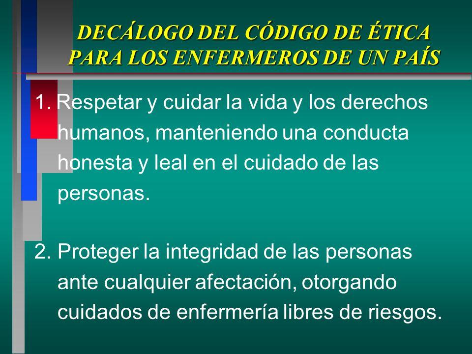DECÁLOGO DEL CÓDIGO DE ÉTICA PARA LOS ENFERMEROS DE UN PAÍS 1.