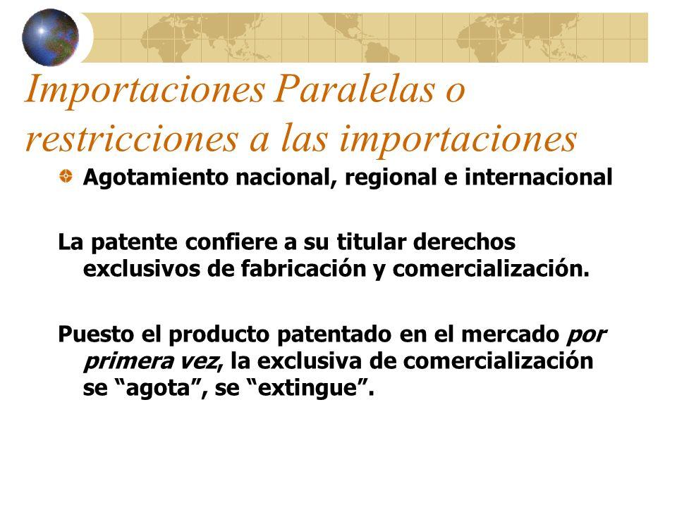 Importaciones Paralelas o restricciones a las importaciones Agotamiento nacional, regional e internacional La patente confiere a su titular derechos e