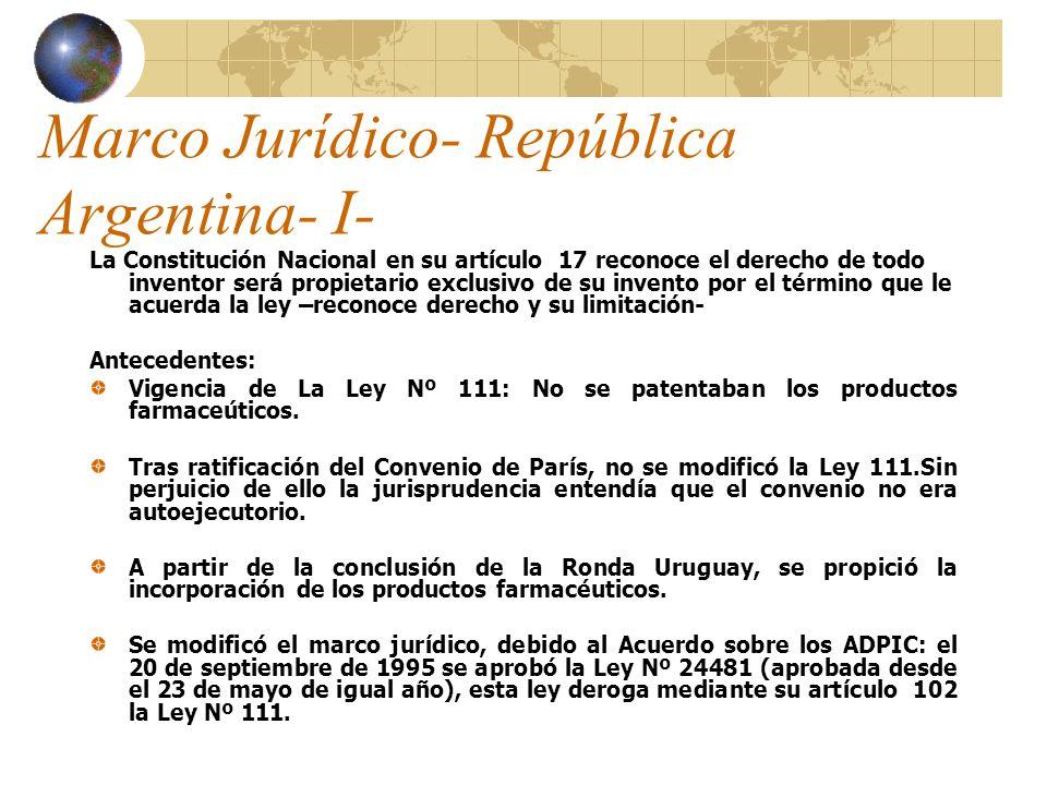 Marco Jurídico- República Argentina- I- La Constitución Nacional en su artículo 17 reconoce el derecho de todo inventor será propietario exclusivo de