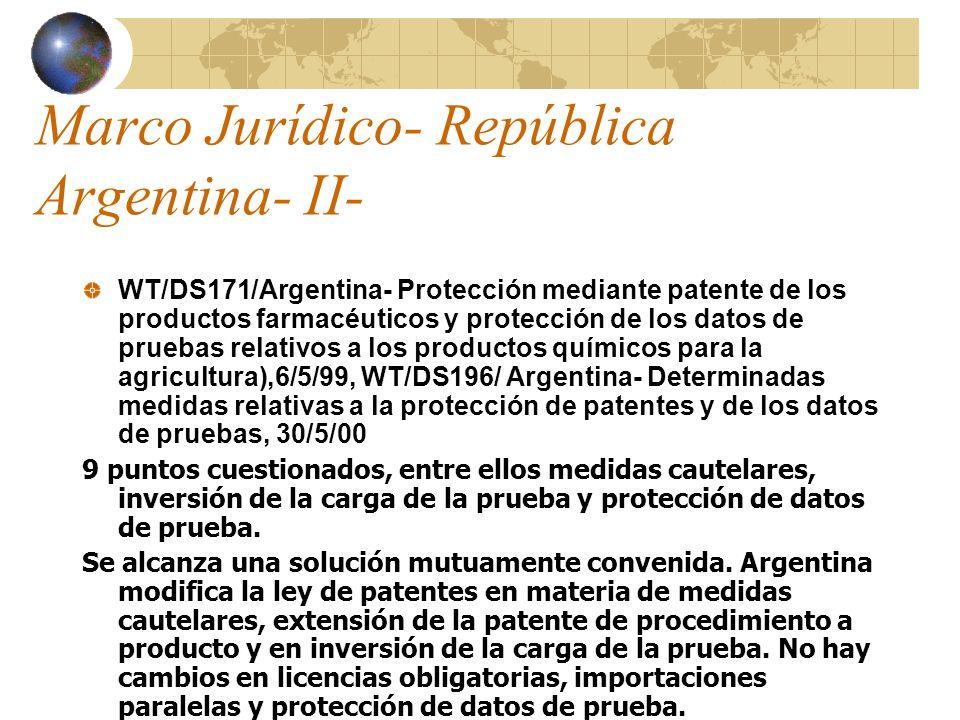 Marco Jurídico- República Argentina- II- WT/DS171/Argentina- Protección mediante patente de los productos farmacéuticos y protección de los datos de p