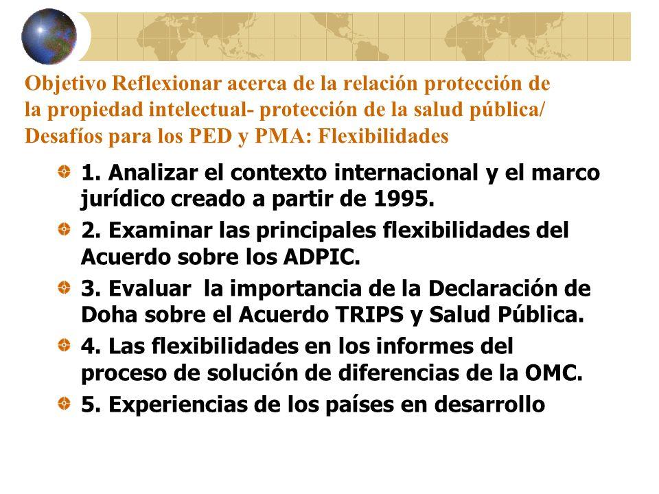 Objetivo Reflexionar acerca de la relación protección de la propiedad intelectual- protección de la salud pública/ Desafíos para los PED y PMA: Flexib