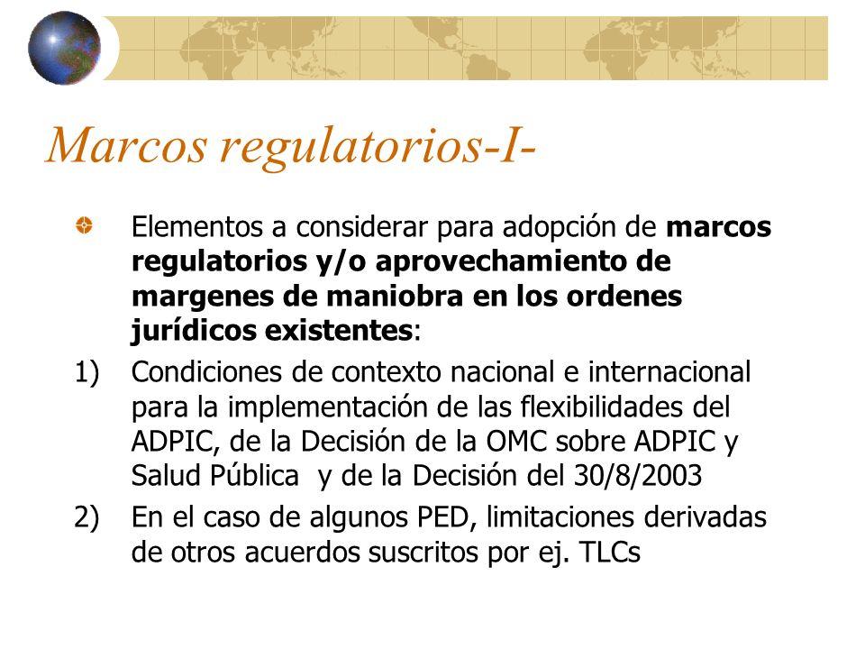 Marcos regulatorios-I- Elementos a considerar para adopción de marcos regulatorios y/o aprovechamiento de margenes de maniobra en los ordenes jurídico