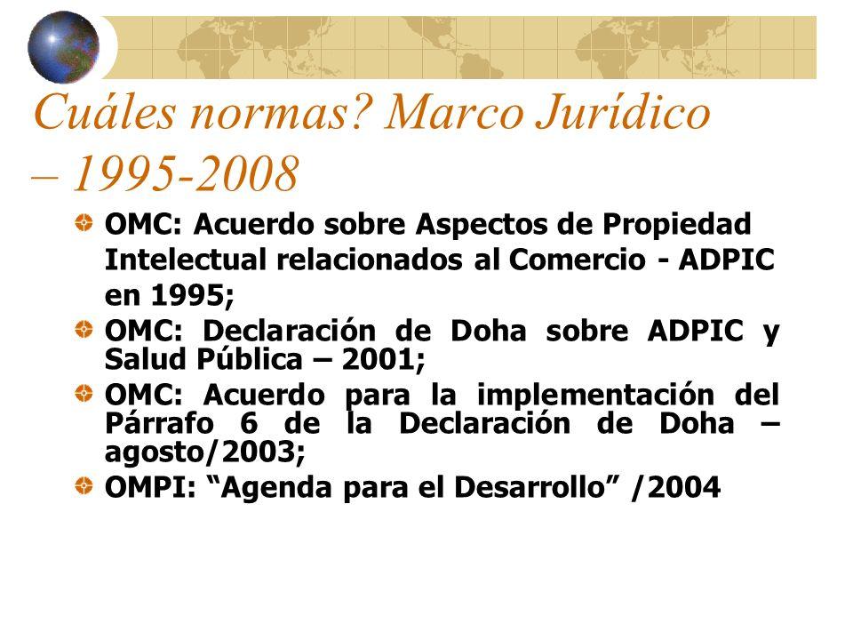 Cuáles normas? Marco Jurídico – 1995-2008 OMC: Acuerdo sobre Aspectos de Propiedad Intelectual relacionados al Comercio - ADPIC en 1995; OMC: Declarac