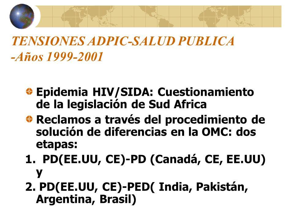 TENSIONES ADPIC-SALUD PUBLICA -Años 1999-2001 Epidemia HIV/SIDA: Cuestionamiento de la legislación de Sud Africa Reclamos a través del procedimiento d