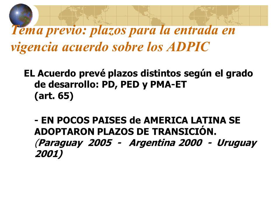 Tema previo: plazos para la entrada en vigencia acuerdo sobre los ADPIC EL Acuerdo prevé plazos distintos según el grado de desarrollo: PD, PED y PMA-