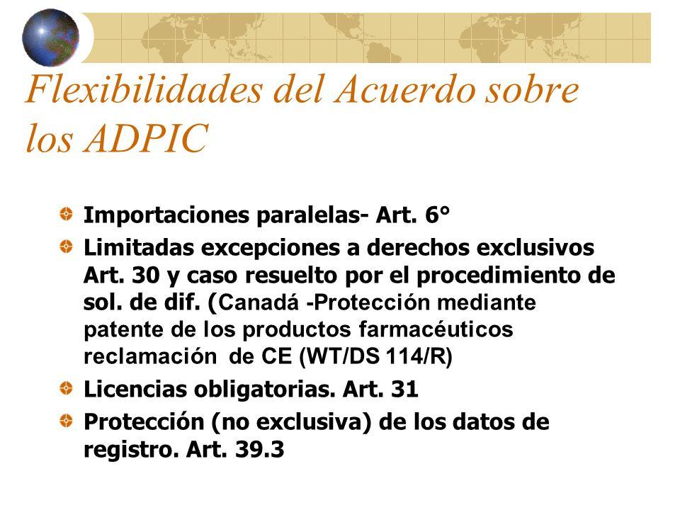 Marco Jurídico- República Argentina- II- WT/DS171/Argentina- Protección mediante patente de los productos farmacéuticos y protección de los datos de pruebas relativos a los productos químicos para la agricultura),6/5/99, WT/DS196/ Argentina- Determinadas medidas relativas a la protección de patentes y de los datos de pruebas, 30/5/00 9 puntos cuestionados, entre ellos medidas cautelares, inversión de la carga de la prueba y protección de datos de prueba.