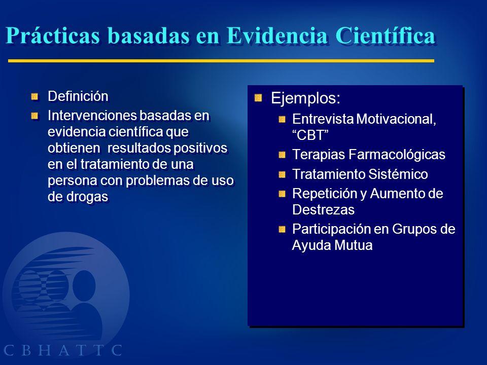 Prácticas basadas en Evidencia Científica Definición Intervenciones basadas en evidencia científica que obtienen resultados positivos en el tratamient