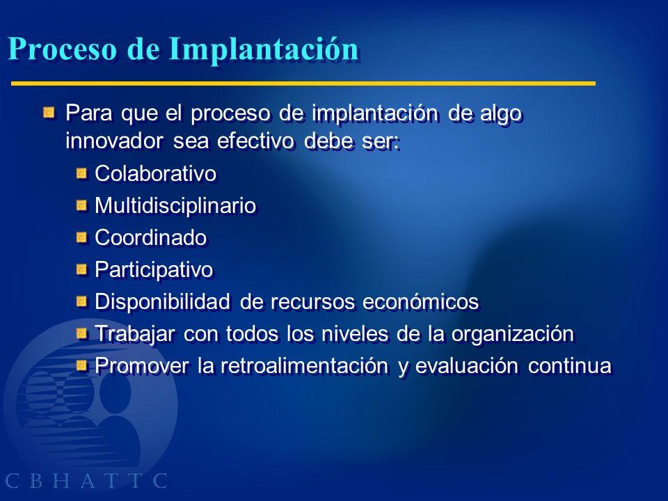 Proceso de Implantación Para que el proceso de implantación de algo innovador sea efectivo debe ser: Colaborativo Multidisciplinario Coordinado Partic