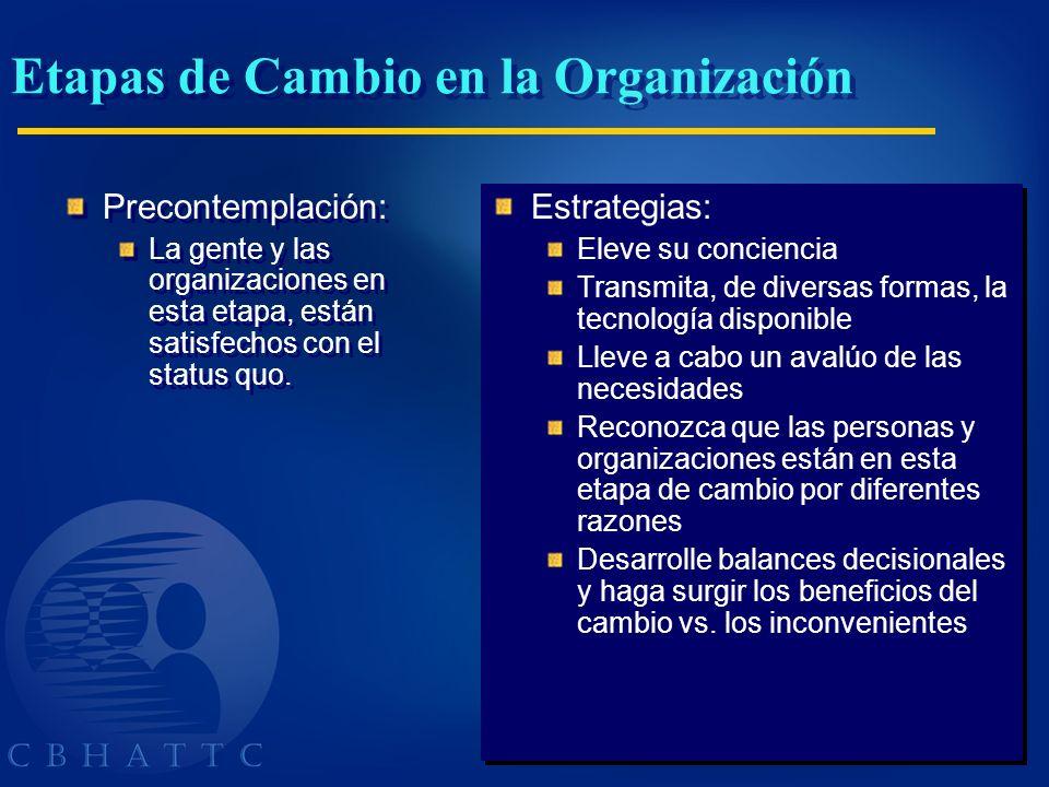 Precontemplación: La gente y las organizaciones en esta etapa, están satisfechos con el status quo. Precontemplación: La gente y las organizaciones en