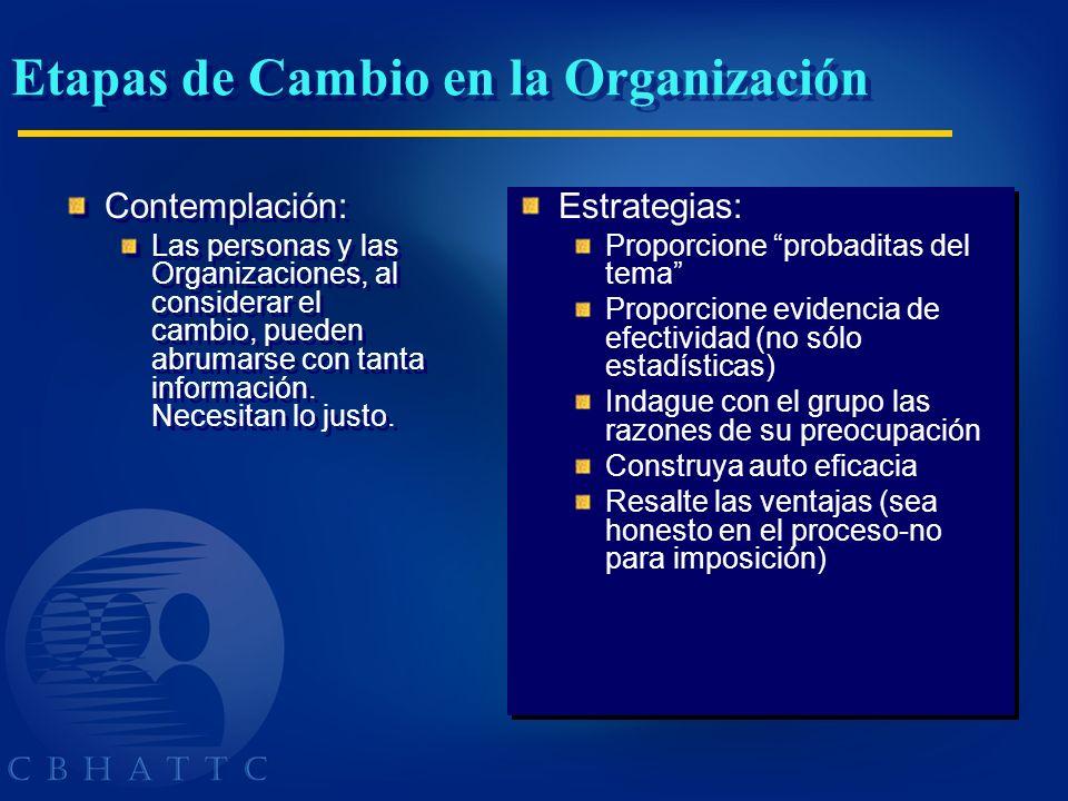 Etapas de Cambio en la Organización Contemplación: Las personas y las Organizaciones, al considerar el cambio, pueden abrumarse con tanta información.