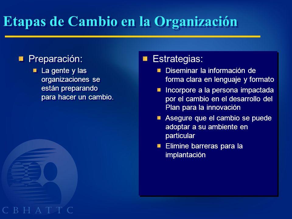 Etapas de Cambio en la Organización Preparación: La gente y las organizaciones se están preparando para hacer un cambio. Preparación: La gente y las o
